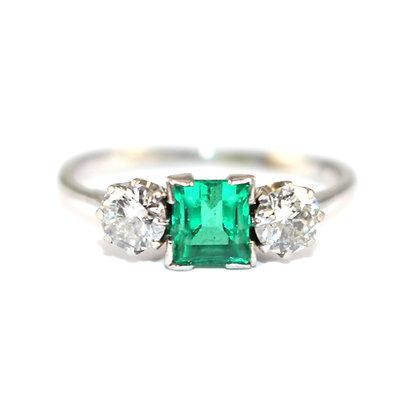Art Deco Emerald & Diamond 3 Stone Ring c.1935
