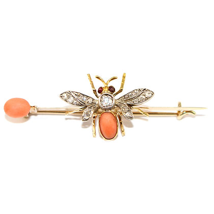 Victorian Diamond Bee Brooch