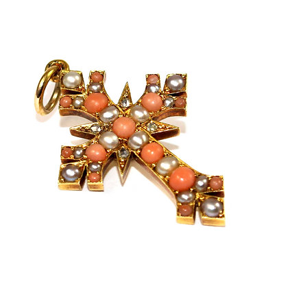 Victorian Gothic Coral & Pearl Cross