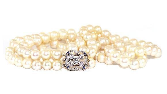 Art Deco Necklace, Sapphire Diamond Clasp