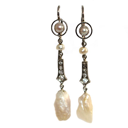 ART DECO MISSISSIPPI PEARL EARRINGS