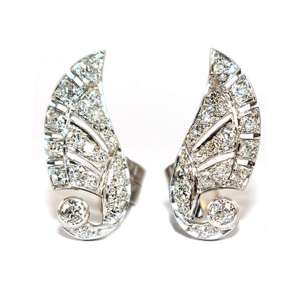 Art Deco Diamond Wing Clip Earrings c.1930