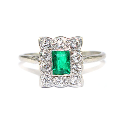 Art Deco Emerald Cluster Ring