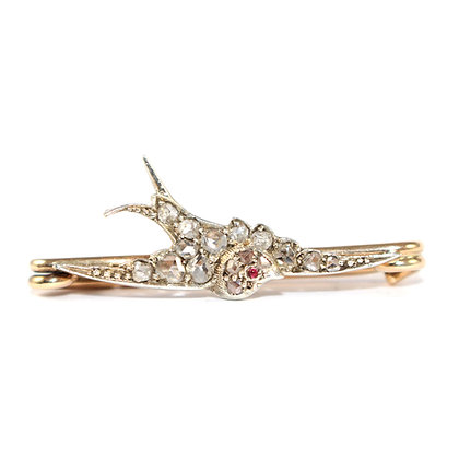 Victorian Diamond Swallow Stock Pin c.1900