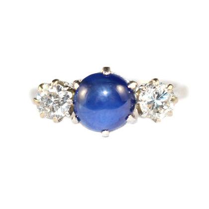 Cabochon Sapphire Diamond 3 stone ring