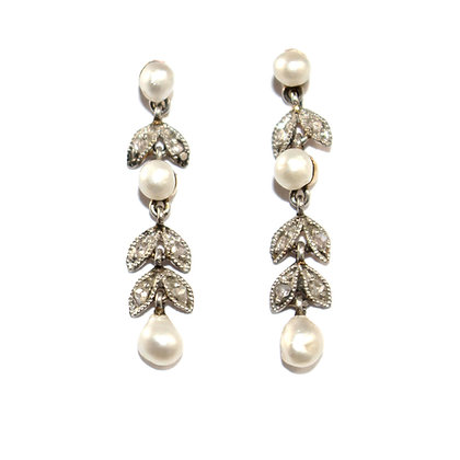 Edwardian Pearl and Diamond Drop Earrings