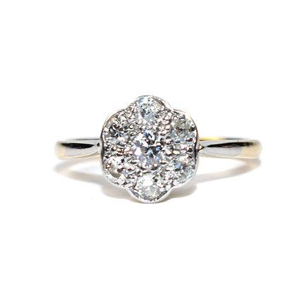 Antique Diamond Cluster Engagement Ring