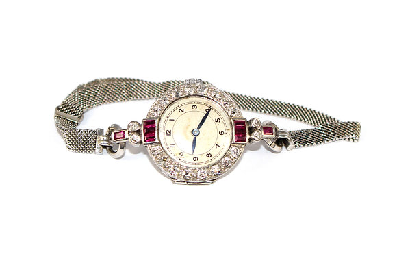 Art Deco Ruby and Diamond Cocktail watch c.1935
