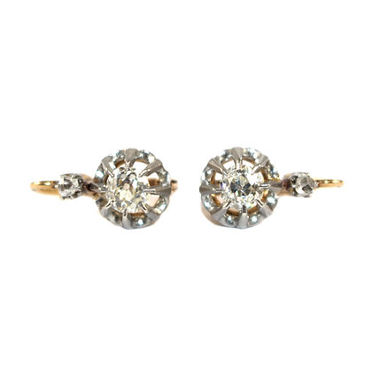 French Dormeuse Old-cut Diamond Earrings c.1910