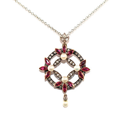 Victorian Ruby Pearl and Diamond Pendant