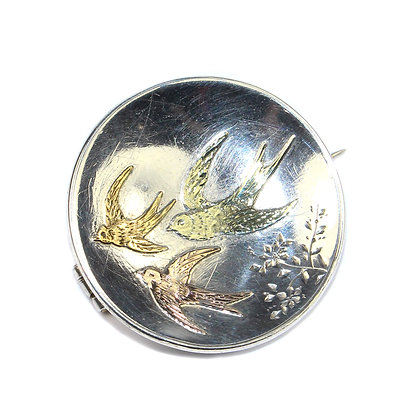 Victorian Aesthetic Silver & Gold Swallows Brooch