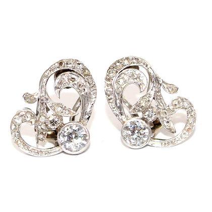 Art Deco Diamond Clip Earrings