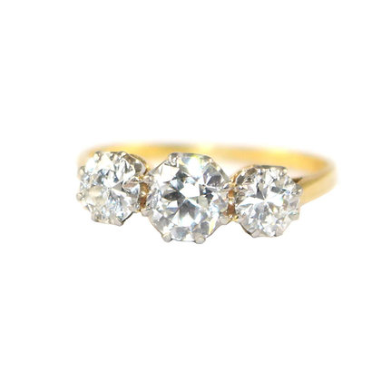 Edwardian Old-Cut Diamond 3 Stone Ring