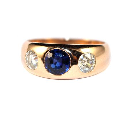 Antique Sapphire & Diamond 3 Stone Gypsy Ring