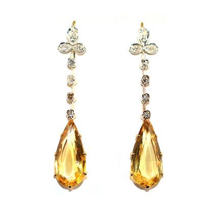 Victorian Citrine & Diamond earrings