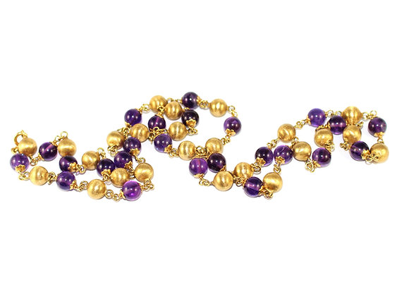Vintage Amethyst and 18ct Gold Bead Necklace