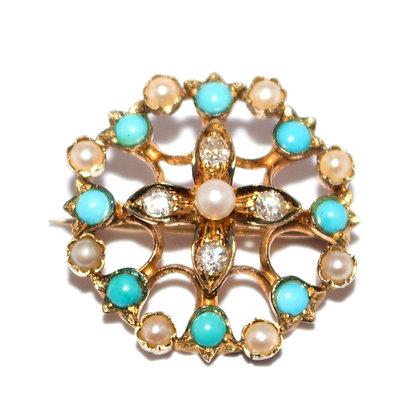 Victorian Turquoise & Diamond Brooch