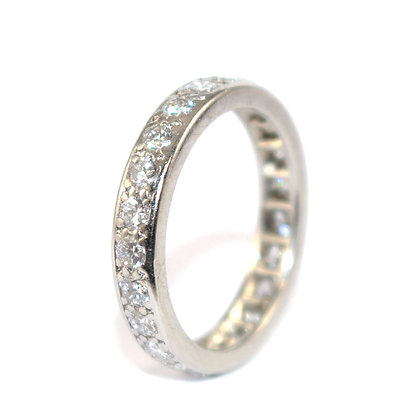 Diamond Full Eternity Ring, French c.1950 size M