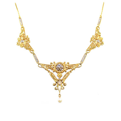 Art Nouveau French Gold and Diamond Necklace c.1910
