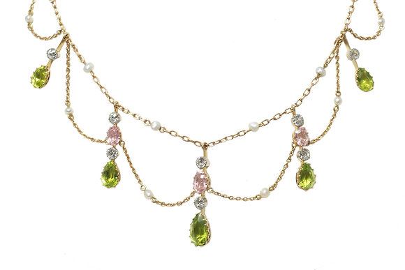 Edwardian Pink Topaz, Peridot & Diamond Necklace c.1910