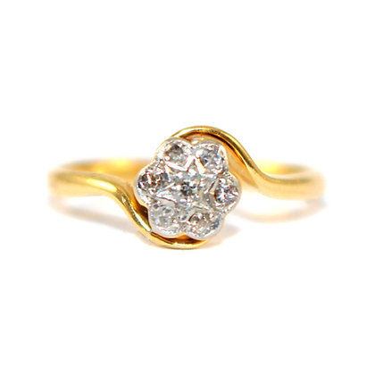 Edwardian Diamond Cluster twist Ring