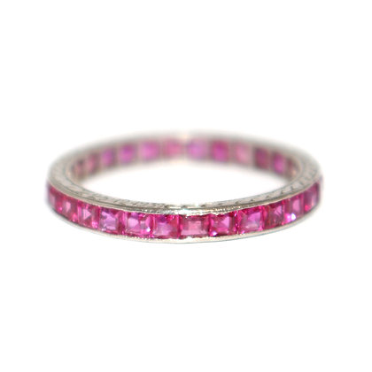 Art Deco Square Cut Ruby Eternity Ring c.1939