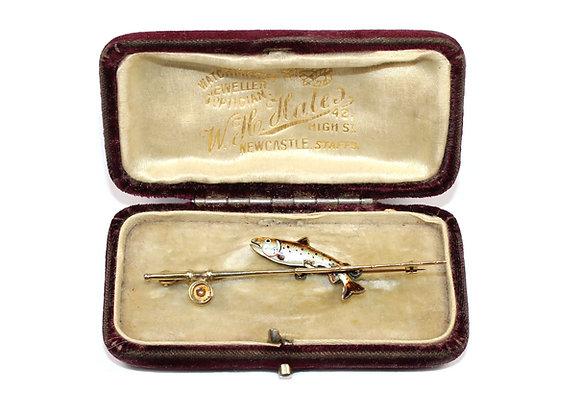 Antique Fishing Brooch