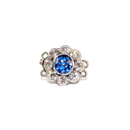Edwardian Sapphire and Diamond Cluster Clasp c.1920