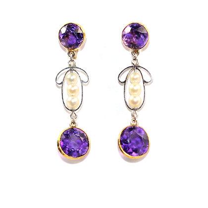 Antique Amethyst Earrings
