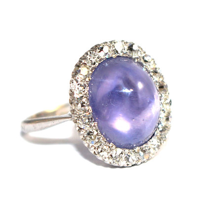 Art Deco Lilac Star Sapphire Cluster Ring c.1930