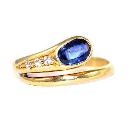 Sapphire and Diamond Snake Ring