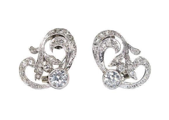 Art Nouveau Diamond Earrings
