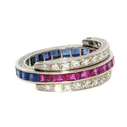 Art Deco Sapphire, Ruby and Diamond Flip Eternity Ring c. 1935 size P 1/2