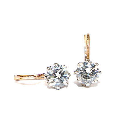 Antique Diamond Dormeuse Earrings