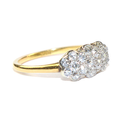 Edwardian Diamond Triple Daisy Cluster Ring