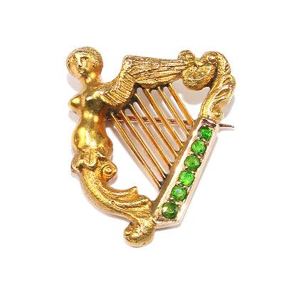 Antique Irish Harp Brooch