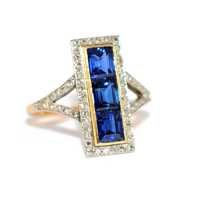 Art Deco Sapphire Tablet Ring