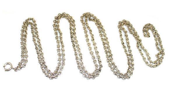 Edwardian Fancy Link Silver Guard Chain