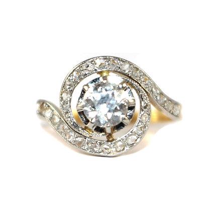 Edwardian Diamond Swirl Ring French c.1910