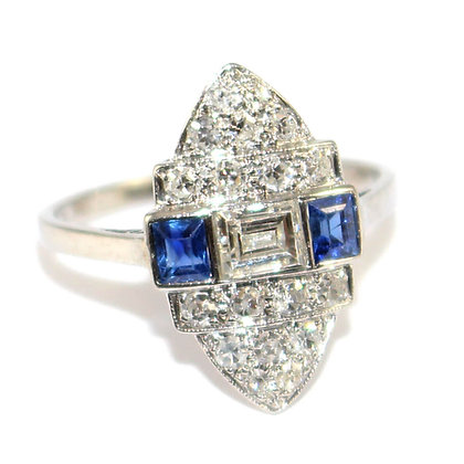 Art Deco Sapphire & Diamond Marquise Tablet Ring