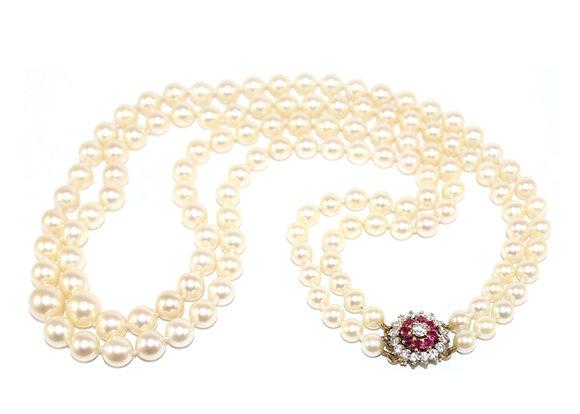 2 Row Graduated Pearls, Ruby & Diamond Clasp c.1950