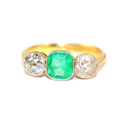 Art Deco Emerald & Diamond 3 Stone Ring