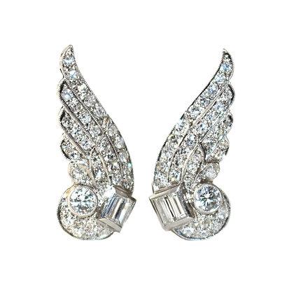 Art Deco Diamond Angel Wing Earrings c.1940