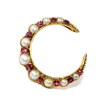 Victorian Ruby & Pearl Crescent Brooch