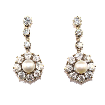 Victorian Pearl and Old-cut Diamond Cluster Drop Earrings c.1890