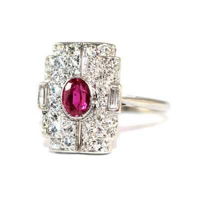 Art Deco Ruby and Diamond Tablet Ring