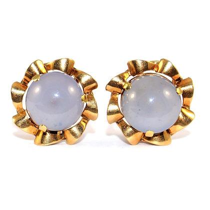 Vintage Chalcedony Gold Earrings c.1950