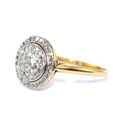 Edwardian Diamond Double Cluster Ring