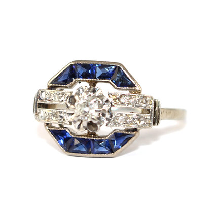 Art Deco French cut Sapphire Ring