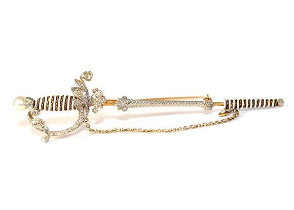 Art Deco Diamond Sabre Brooch